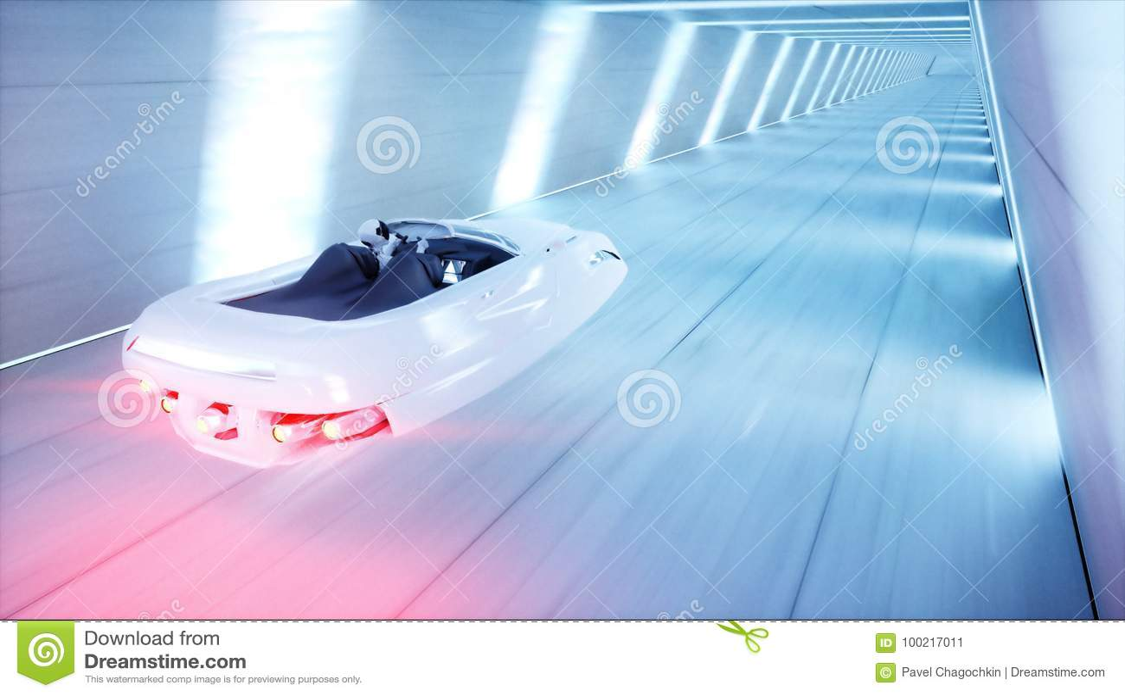 Carro futurista do voo com condução rápida da mulher no túnel do fi do sci, coridor Conceito do futuro rendição 3d