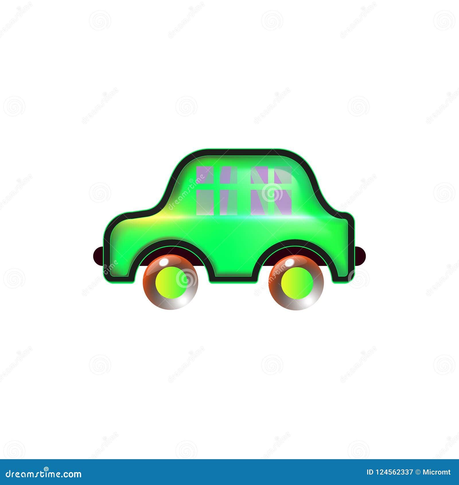 Carro home verde, ícone do brinquedo Brilhante para a cor do bebê no vetor engraçado do estilo Inovação dos desenhos animados Sum