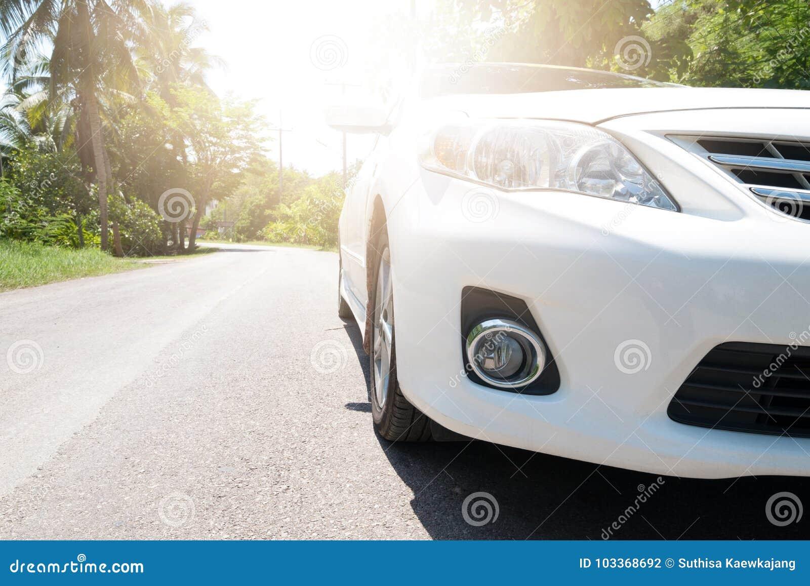 Carro na estrada com luz solar no bosque Tailândia do coco
