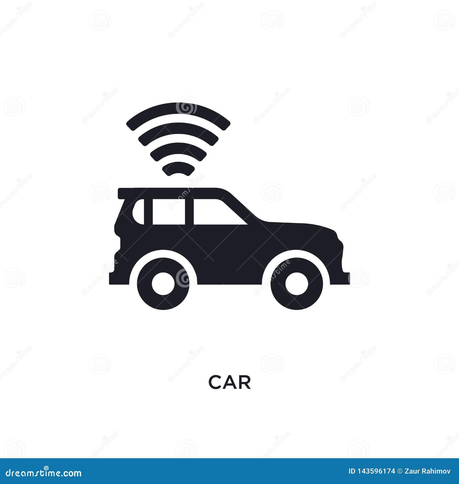 Carro preto ícone isolado do vetor ilustração simples do elemento dos ícones do vetor do conceito da inteligência artificial pret