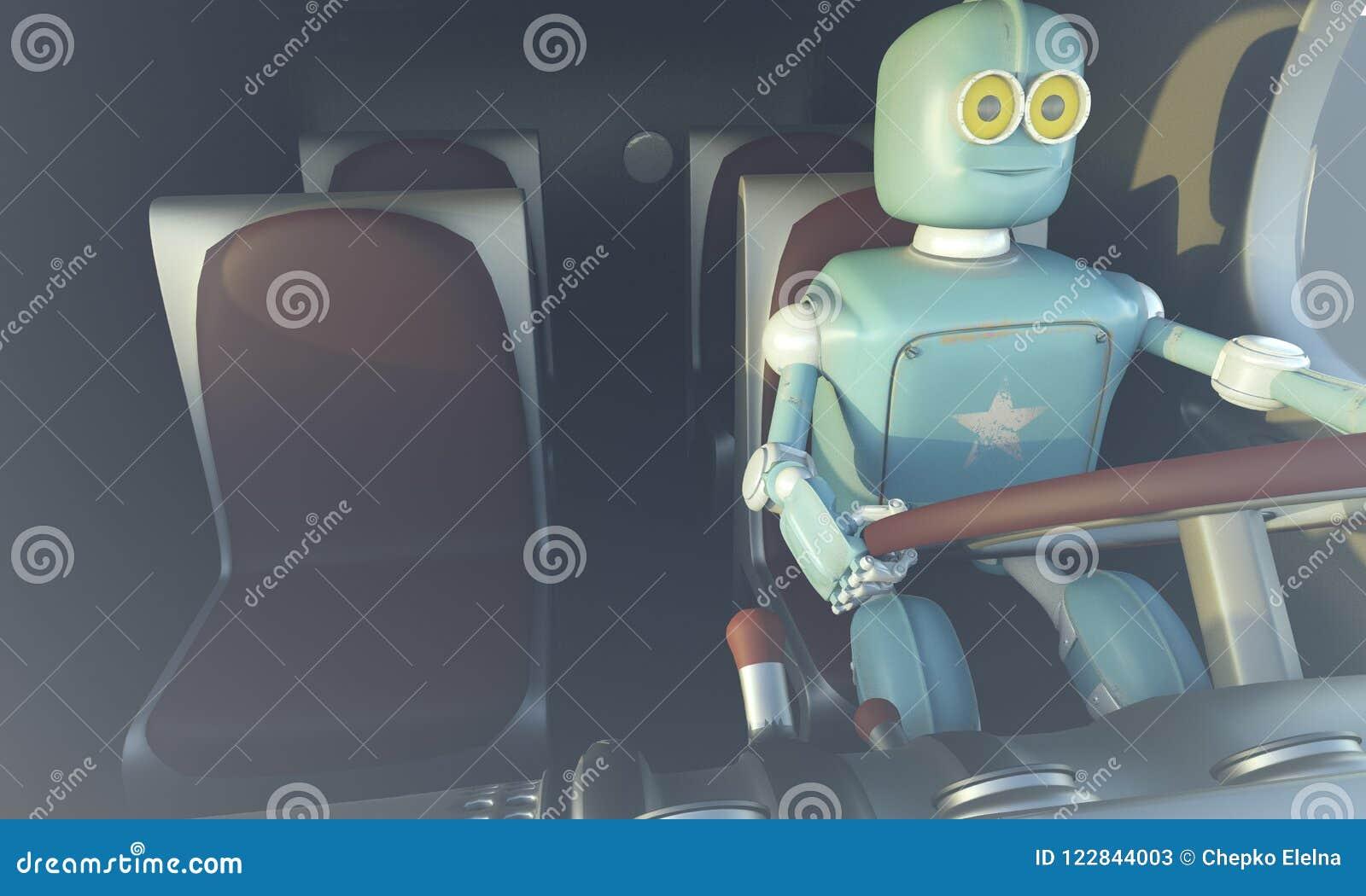Carro retro do drave do robô Carro autônomo do transporte e da auto-condução