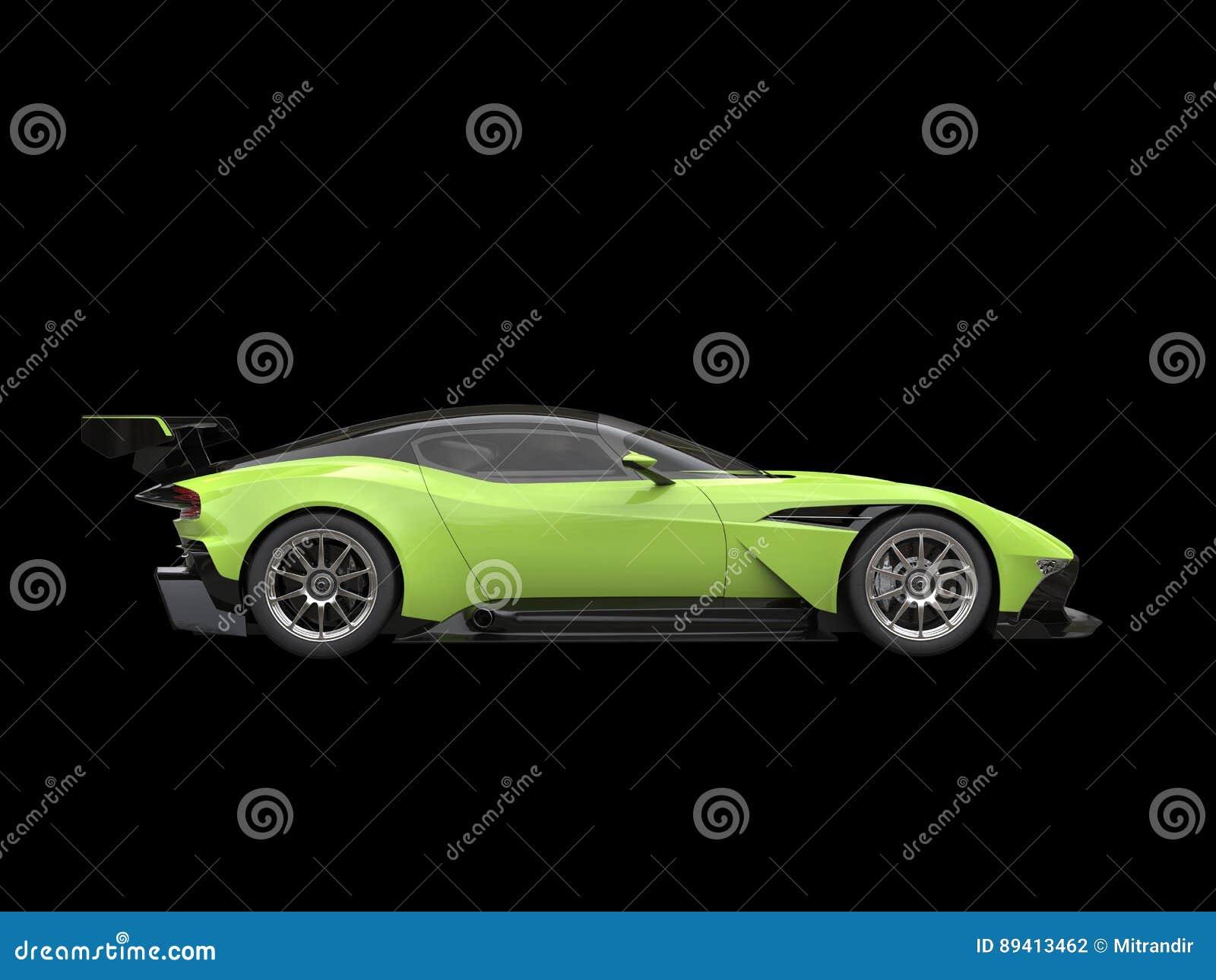 Carro super dos esportes modernos do preto e do verde-lima no fundo preto