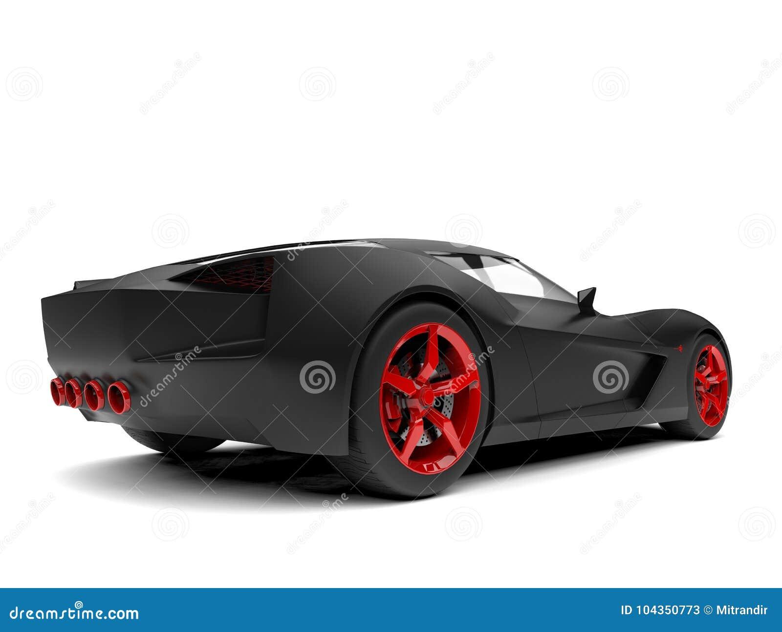 Carro super preto matte do conceito dos esportes com bordas e detalhes vermelhos - vista traseira