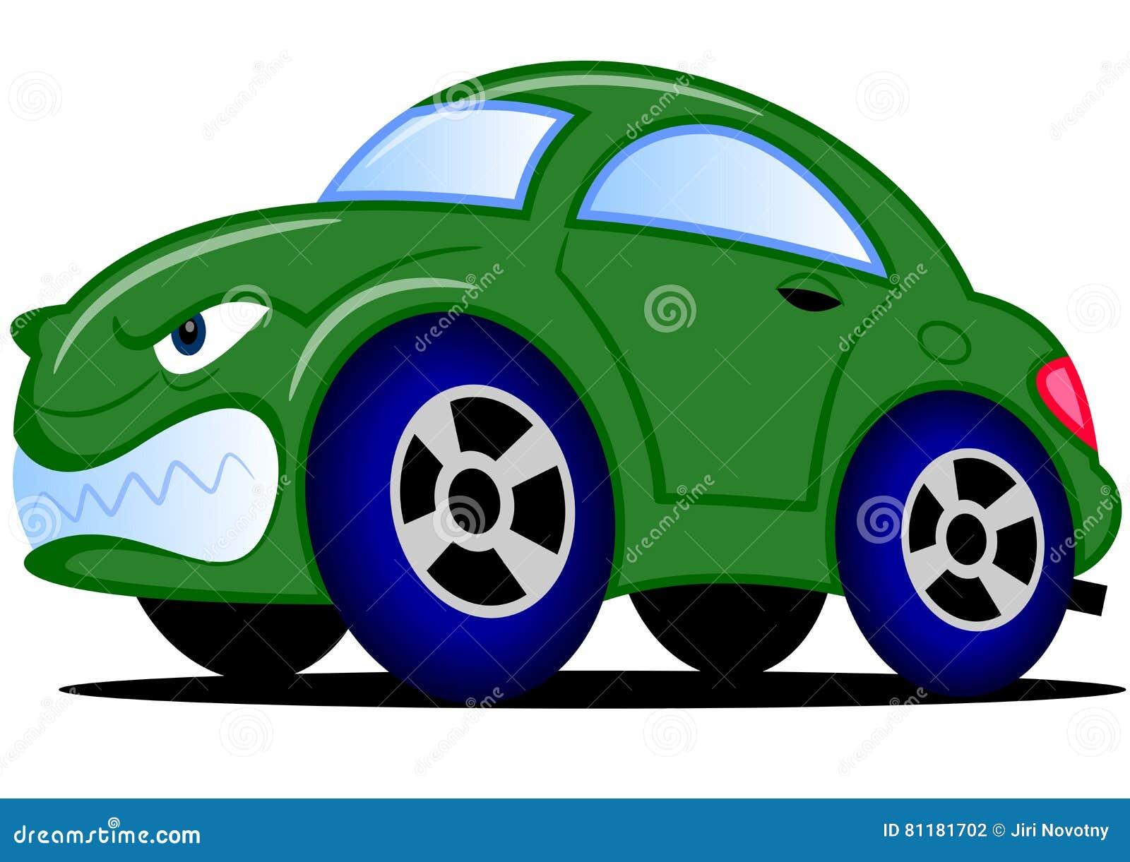 Carro verde dos desenhos animados