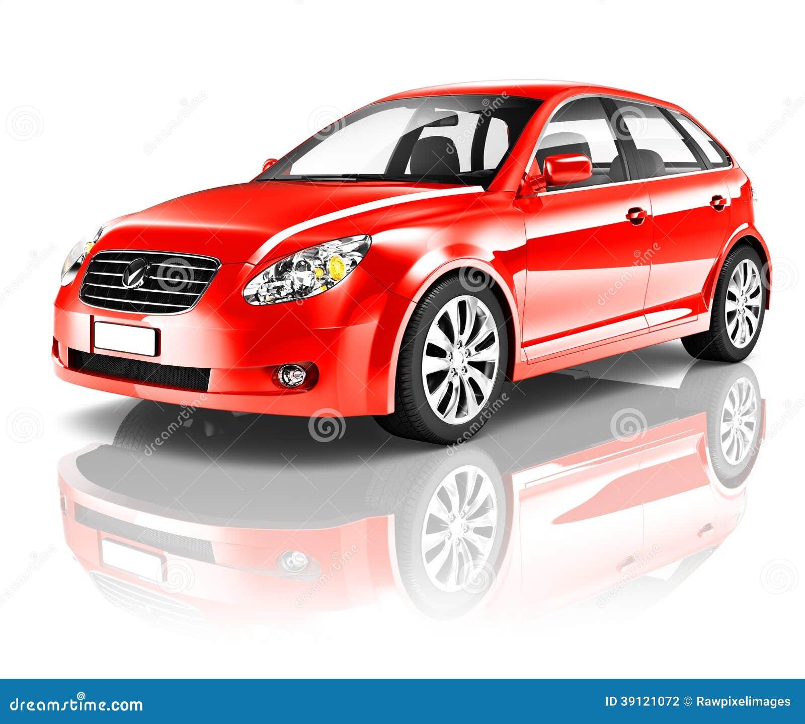 Carro vermelho da parte traseira do portal 3D