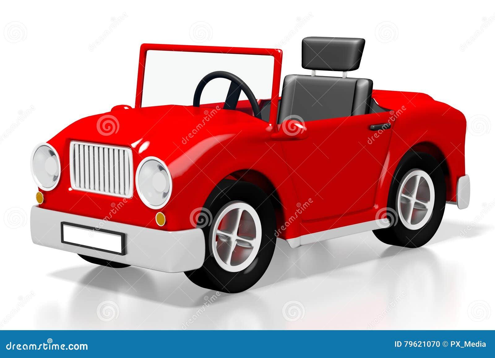 Carro vermelho dos desenhos animados 3D