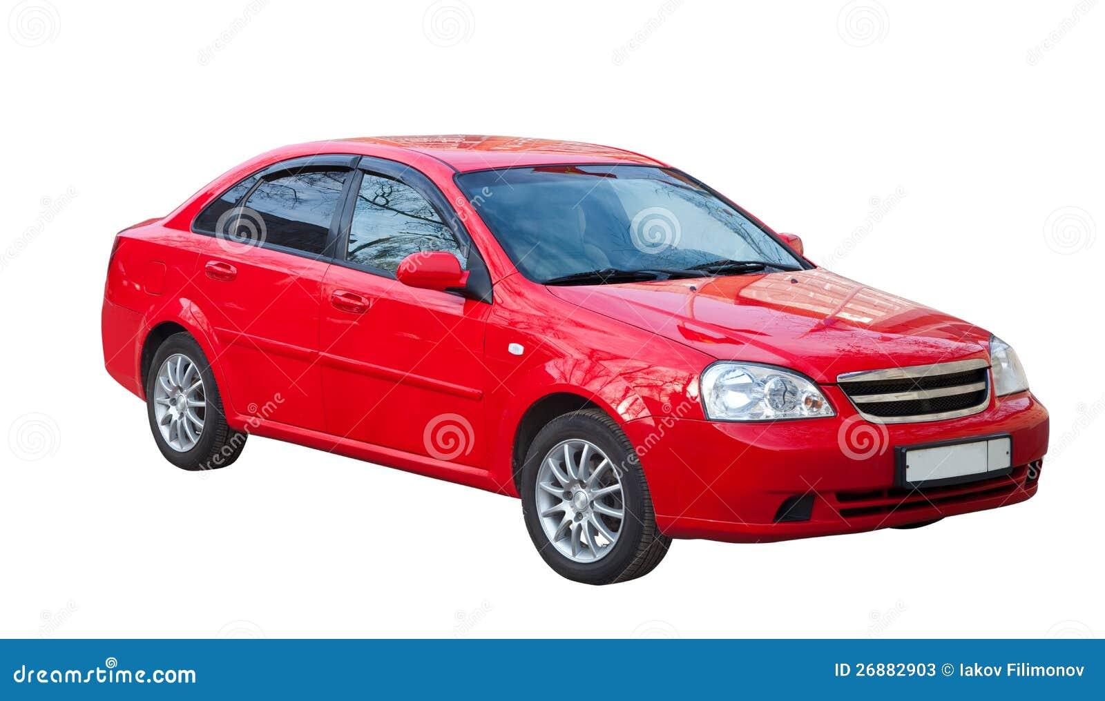 Carro vermelho no branco. Isolado sobre o branco