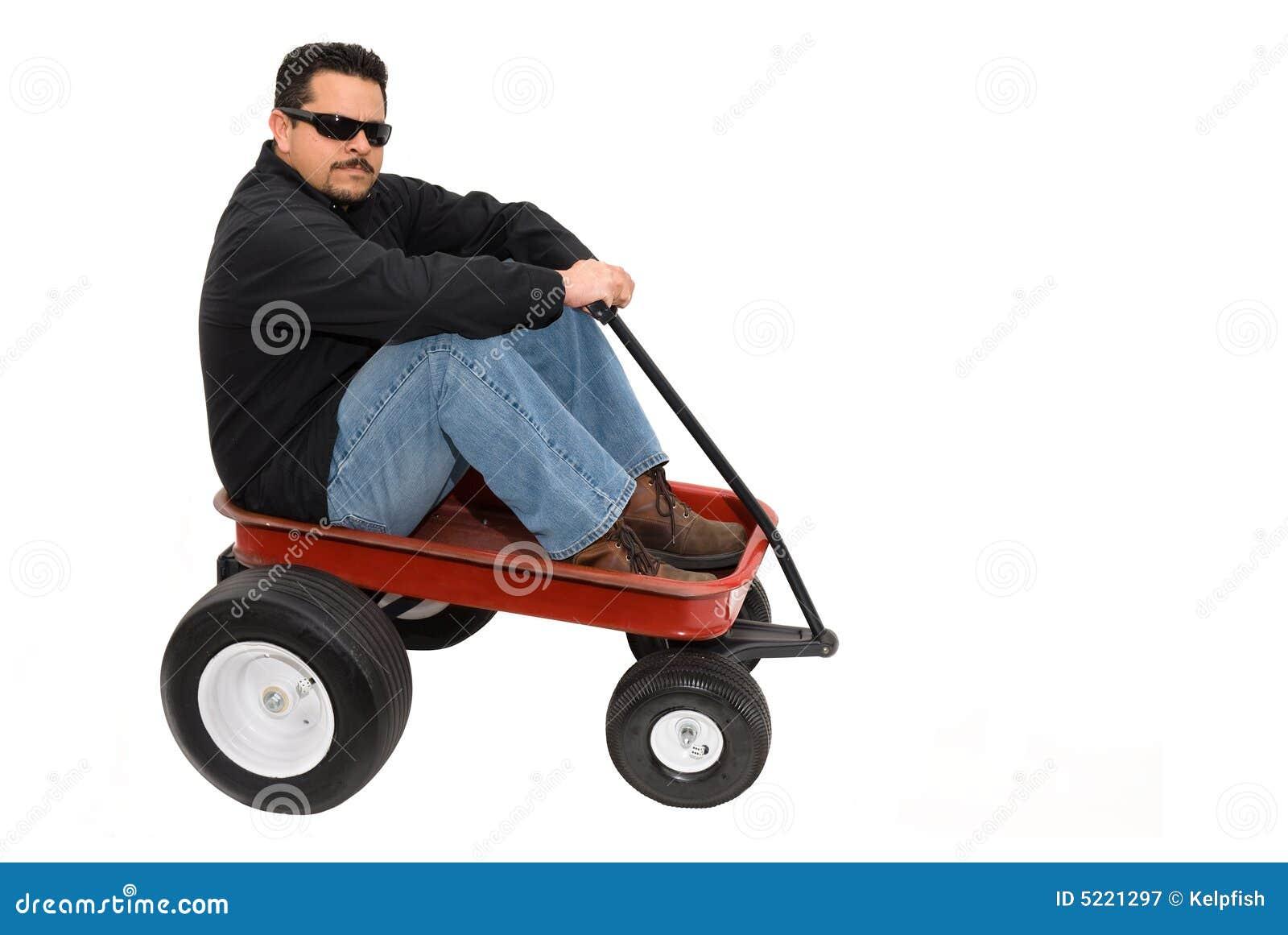 Carro y hombre rojos