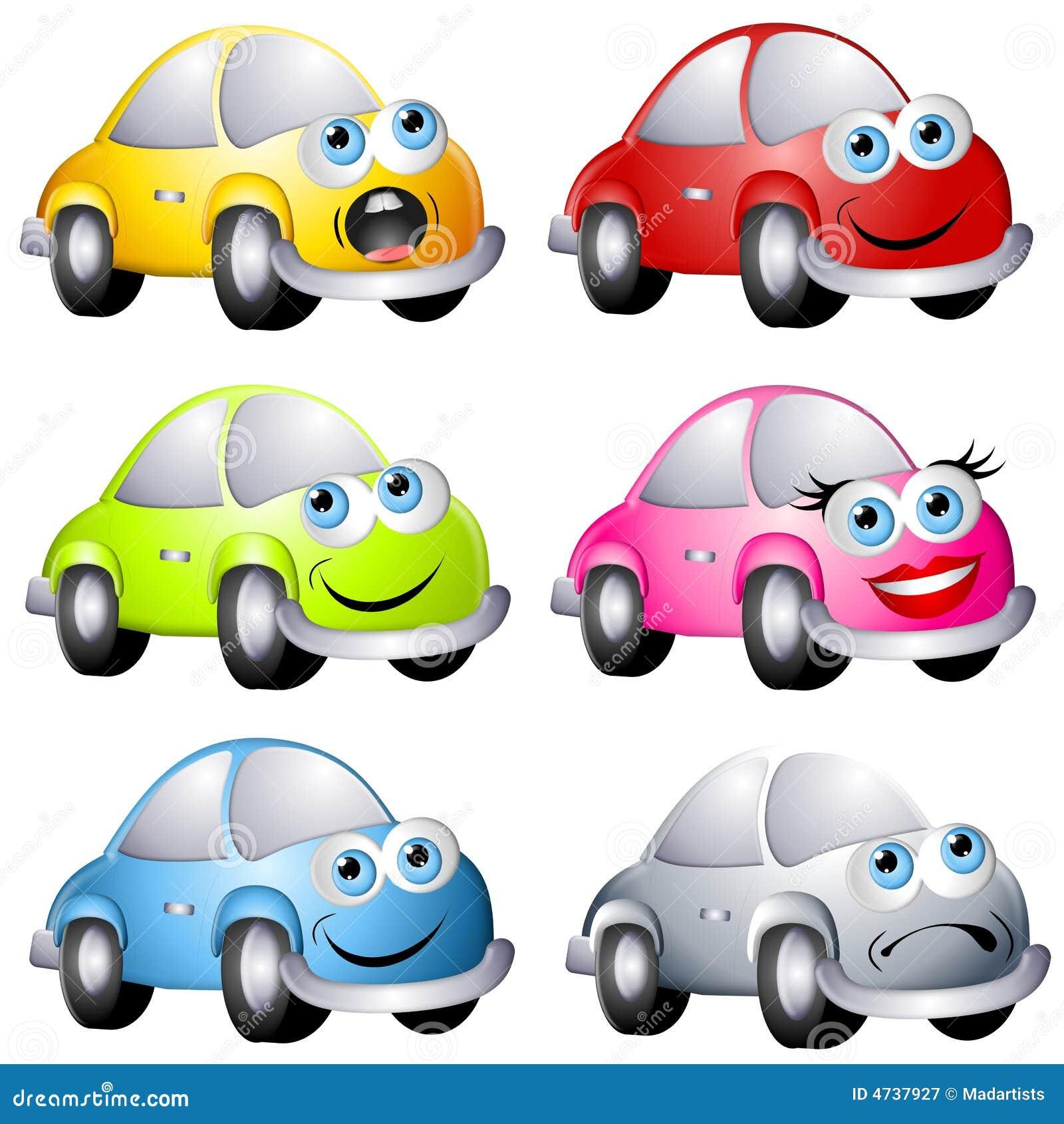 Carros Assorted Do Estilo Do Erro Dos Desenhos Animados Ilustracao
