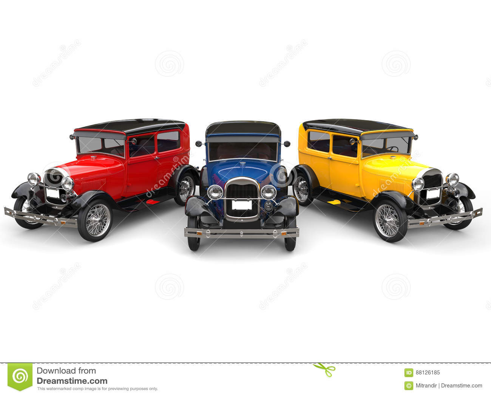 Carros Bonitos Do Vintage Dos Anos 20 Em Cores Preliminares