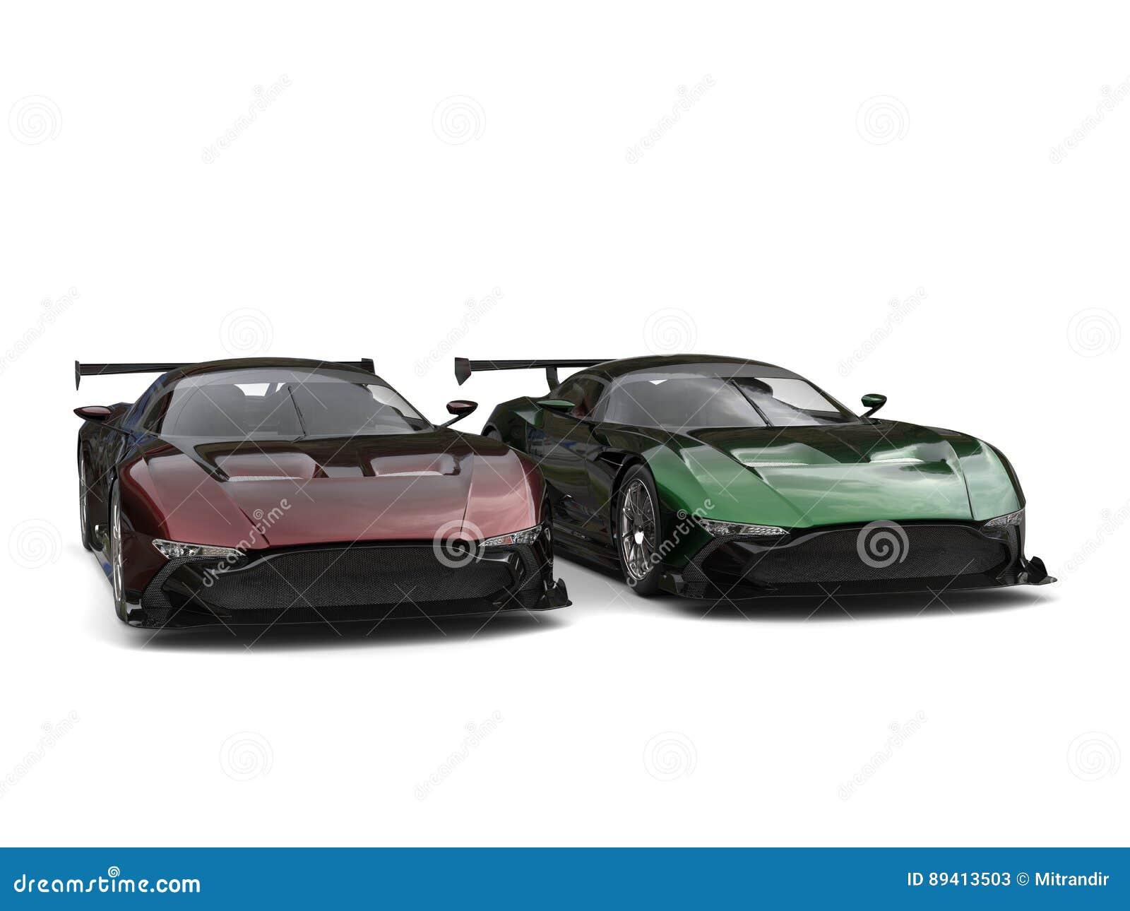 Carros de esportes metálicos modernos - dois tonificam a pintura com destaques do vermelho/verde