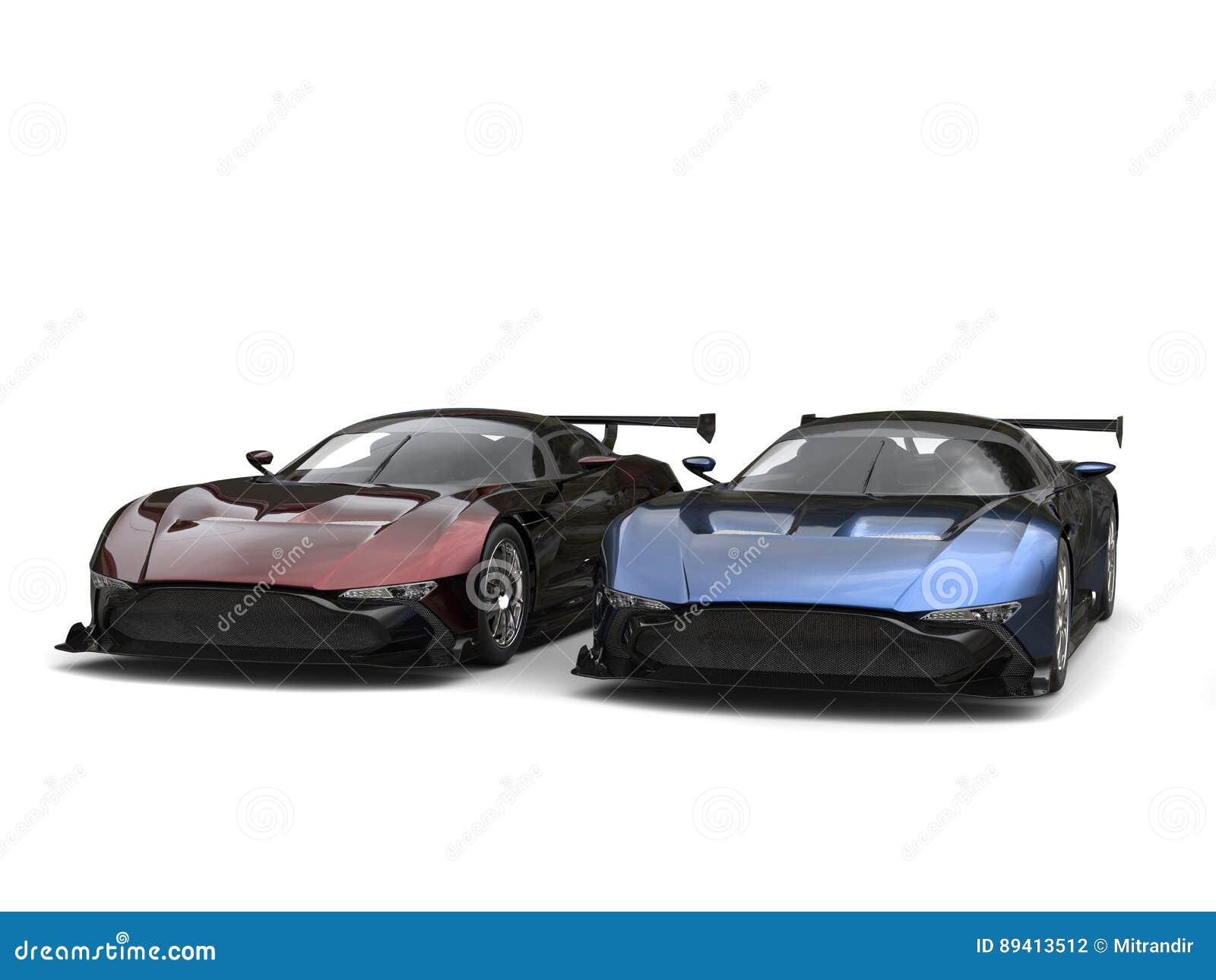 Carros de esportes metálicos modernos - dois tonifique a pintura - vermelho e azul