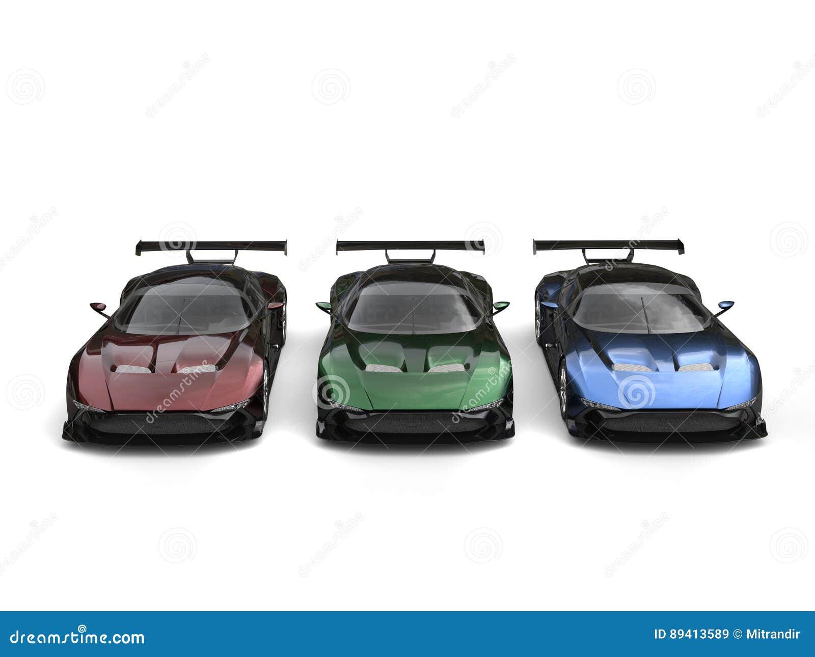 Carros de esportes metálicos modernos - vermelho, verde e azul