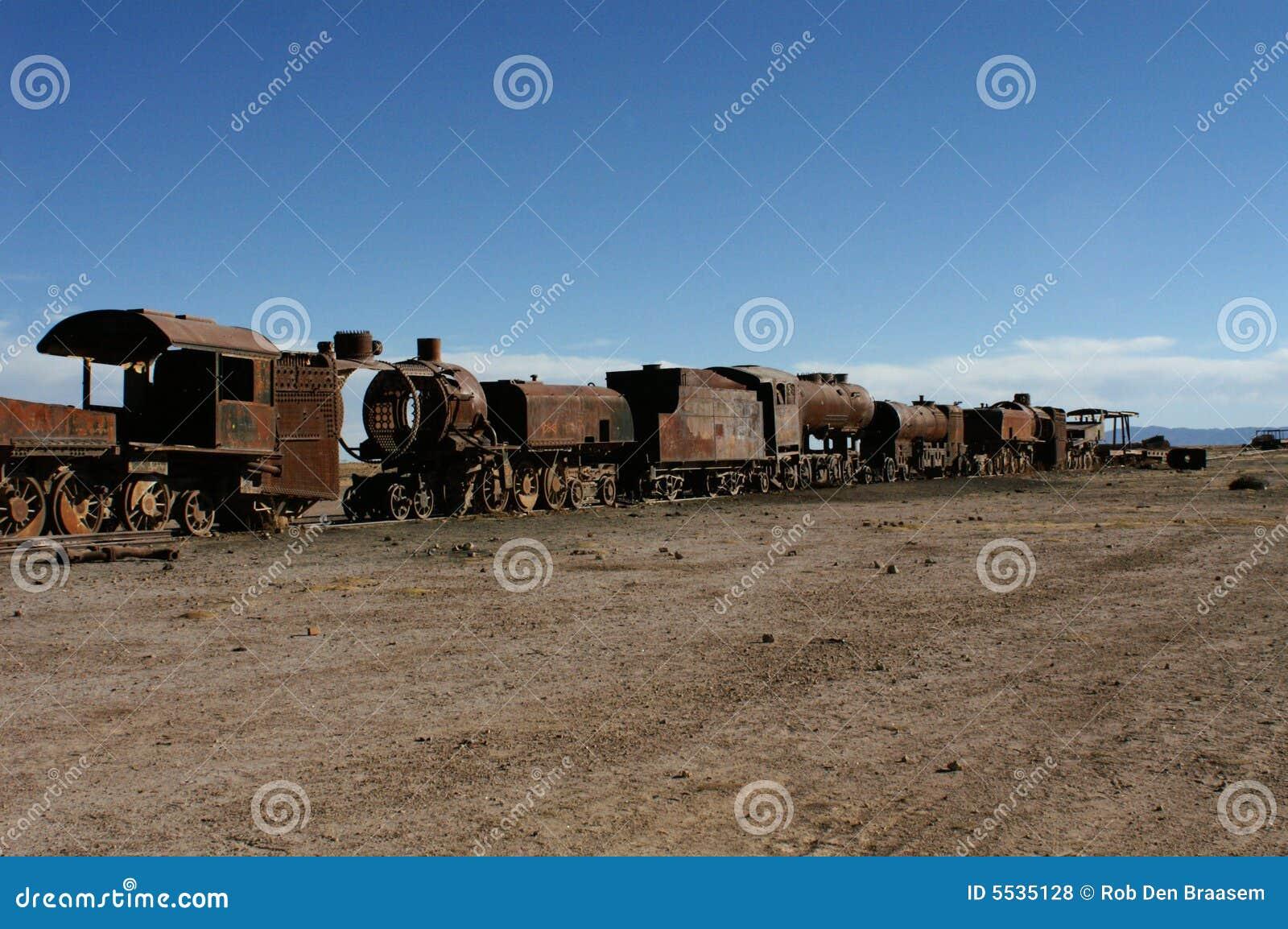 Carros de oxidação velhos do trem