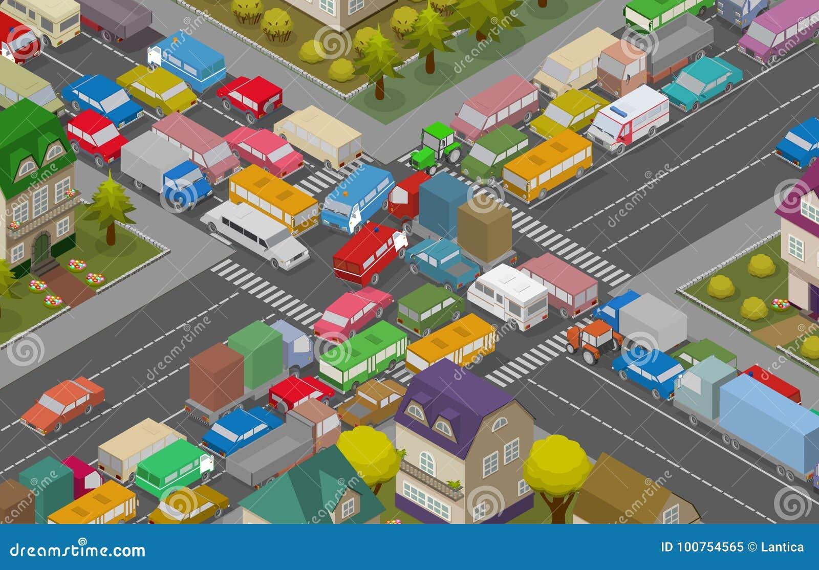 Carros no asfalto Carros e casas isométricos para a ilustração da estrada ocupada