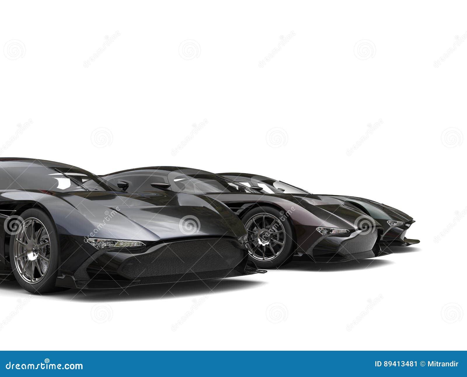 Carros super pretos modernos em seguido - corte o tiro