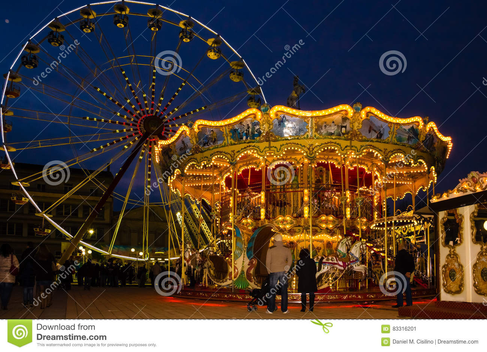 Carrossel no Natal justo Carcassonne france