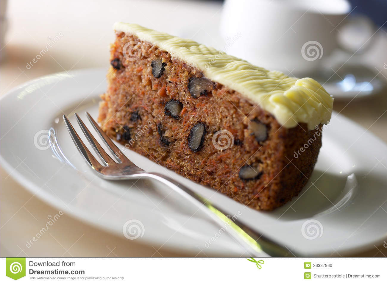 Download Carrot cake stock photo. Image of piece, fork, cheese - 26337960