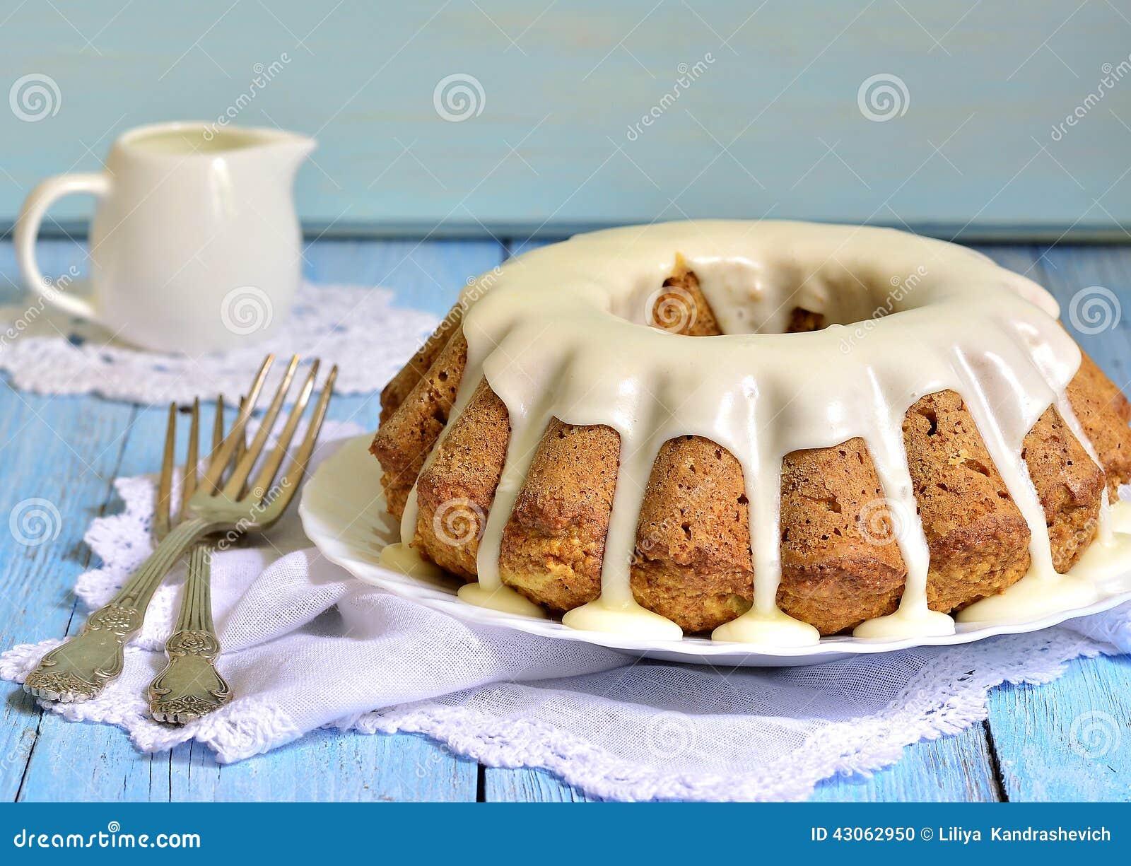 Carrot cake with cream glaze.