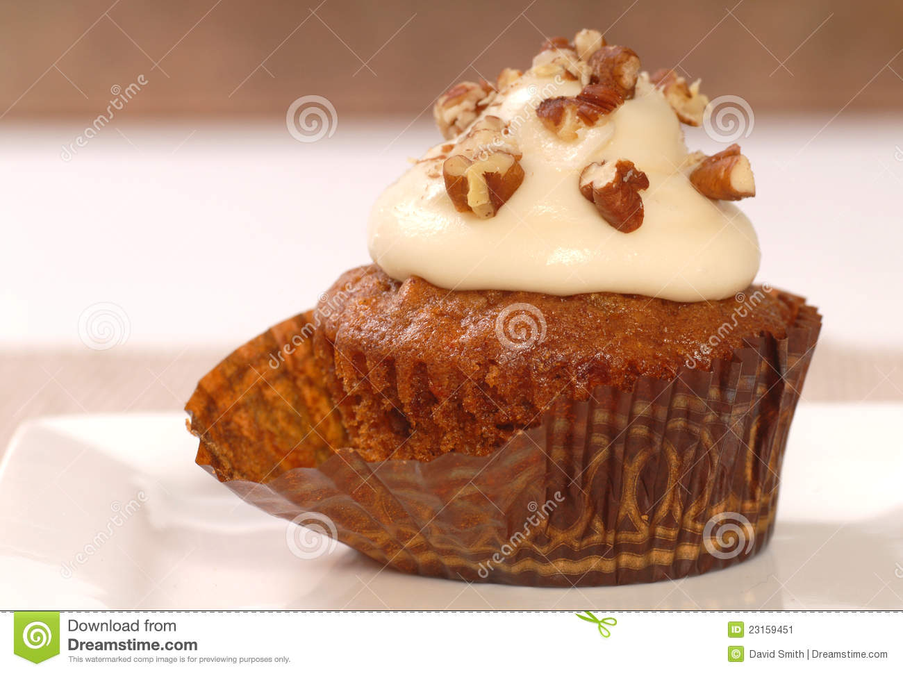 Carrot Cake Cupcake With Cream Cheese Frosting Stock Image - Image ...
