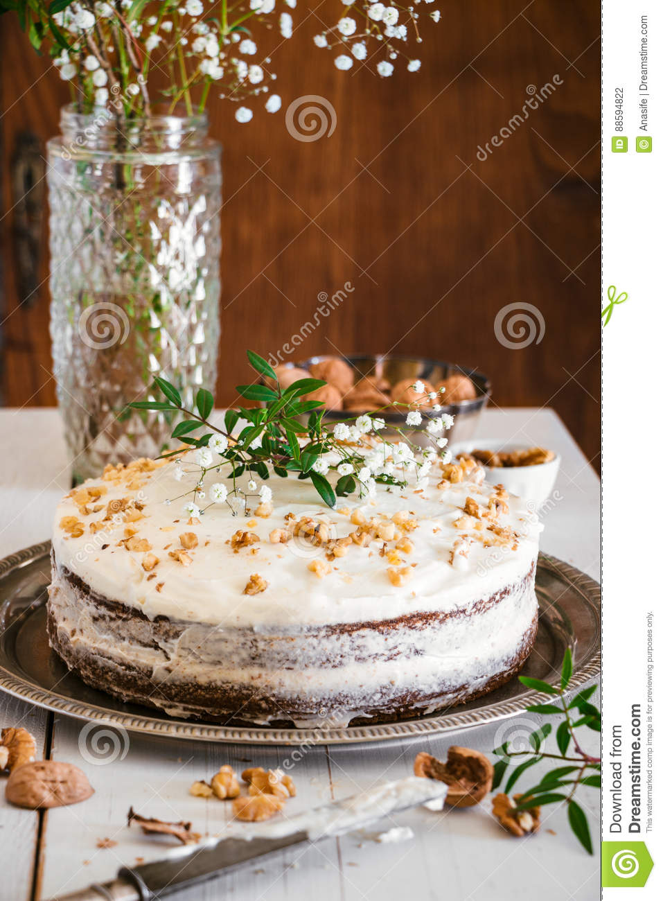 Carrot Cake Decorated With Flowers Stock Photo Image Of
