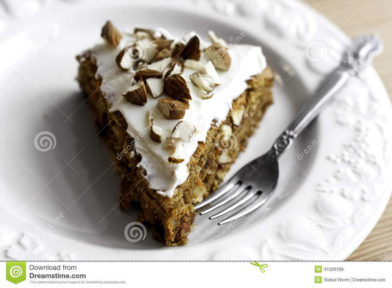 Download Carrot Cake stock image. Image of cream, plate, snack - 41326199