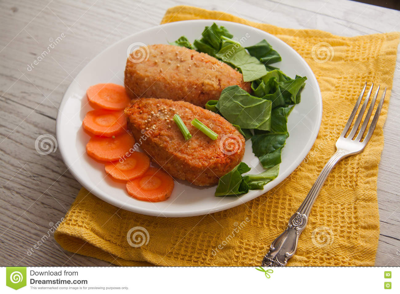 Carrot pancakes with spinach