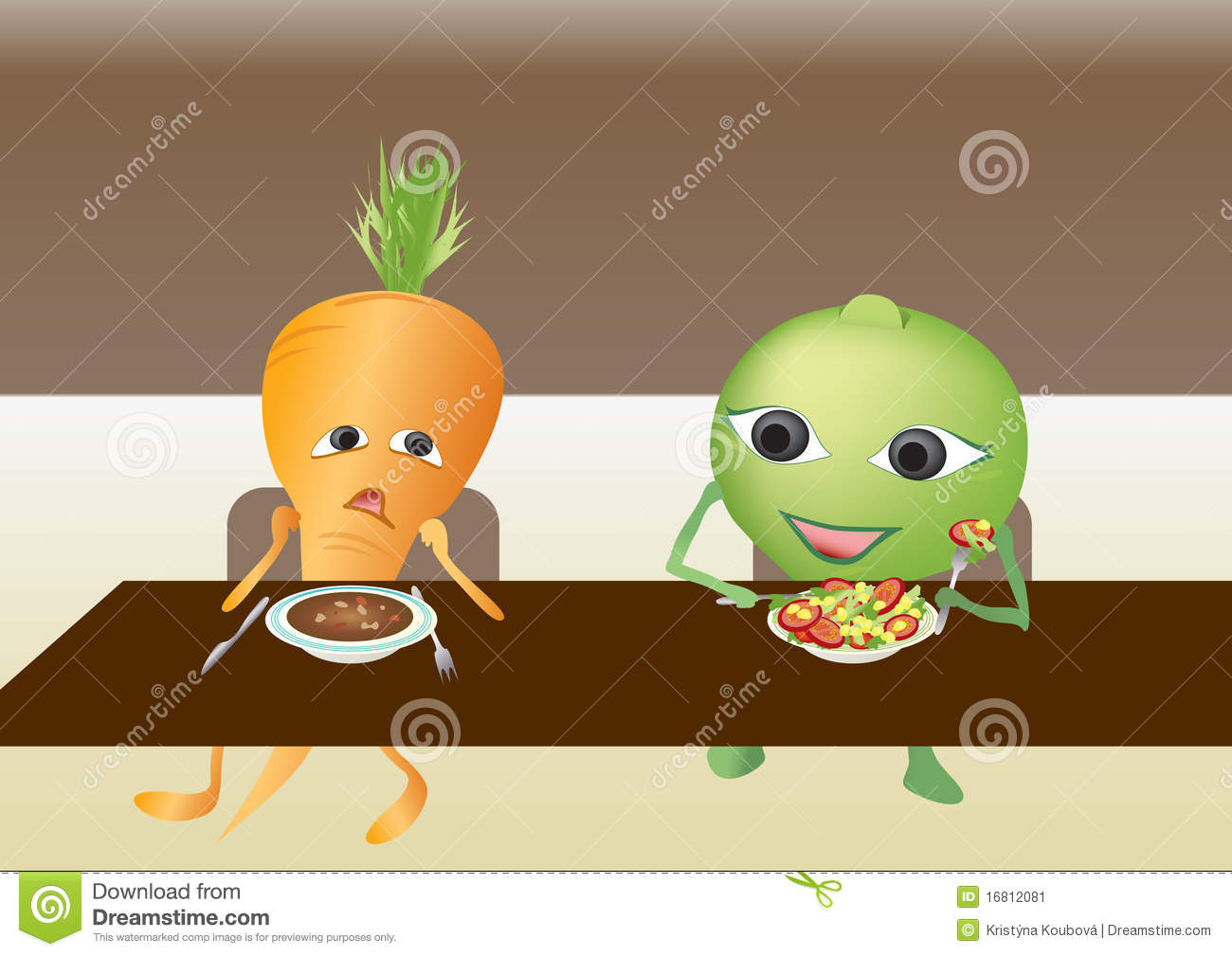 Carrot And Pea In The Dining Hall Stock Image Image 16812081