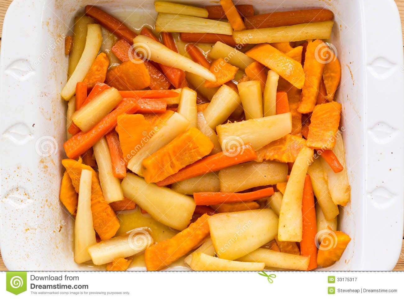 Carrots, Parsnips And Sweet Potatoes In Cider Sauce Royalty Free Stock ...