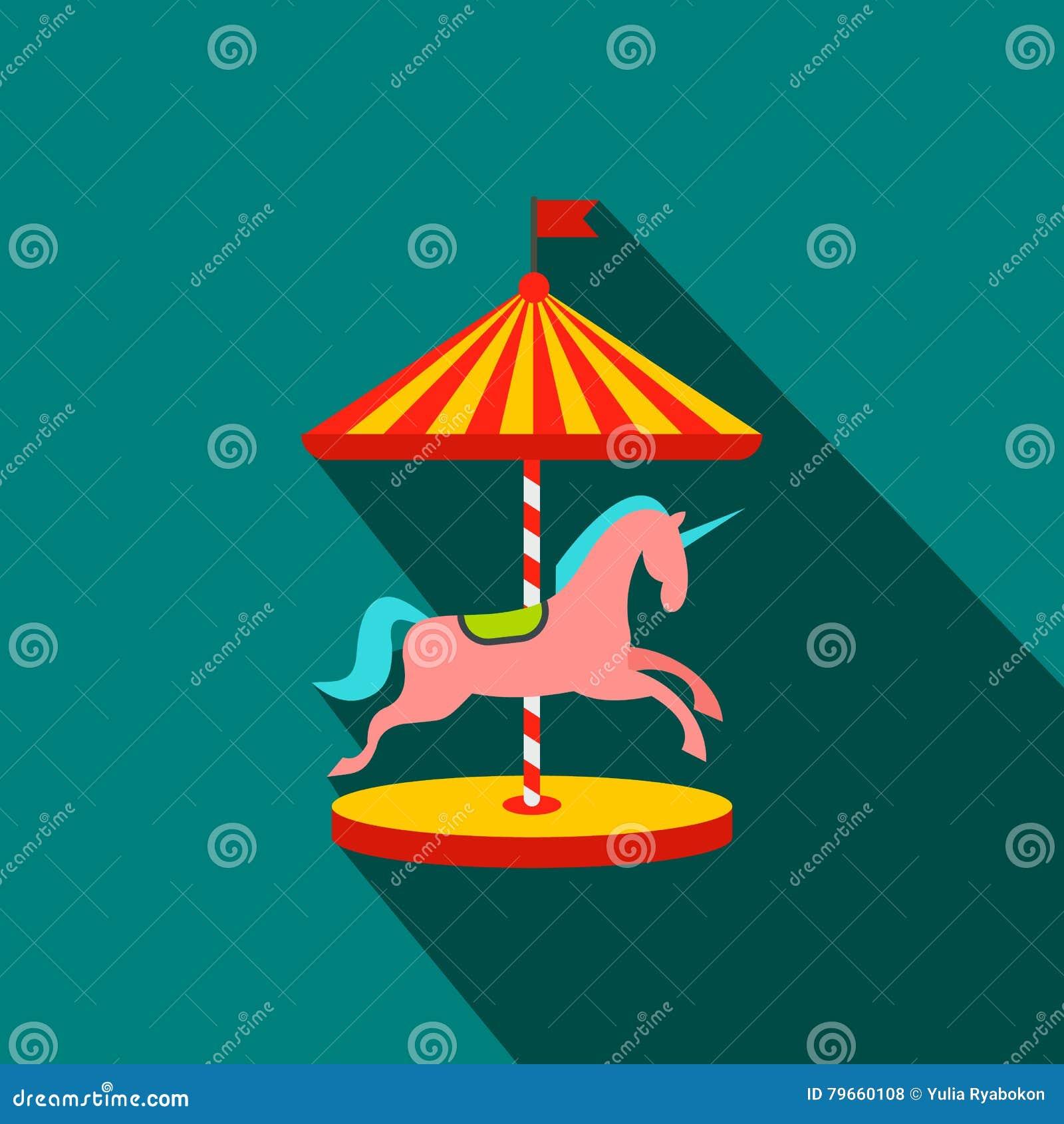 Carrousel met paarden vlak pictogram
