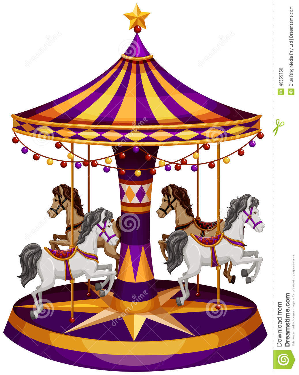 Illustration of a carrousel ride on a white background.