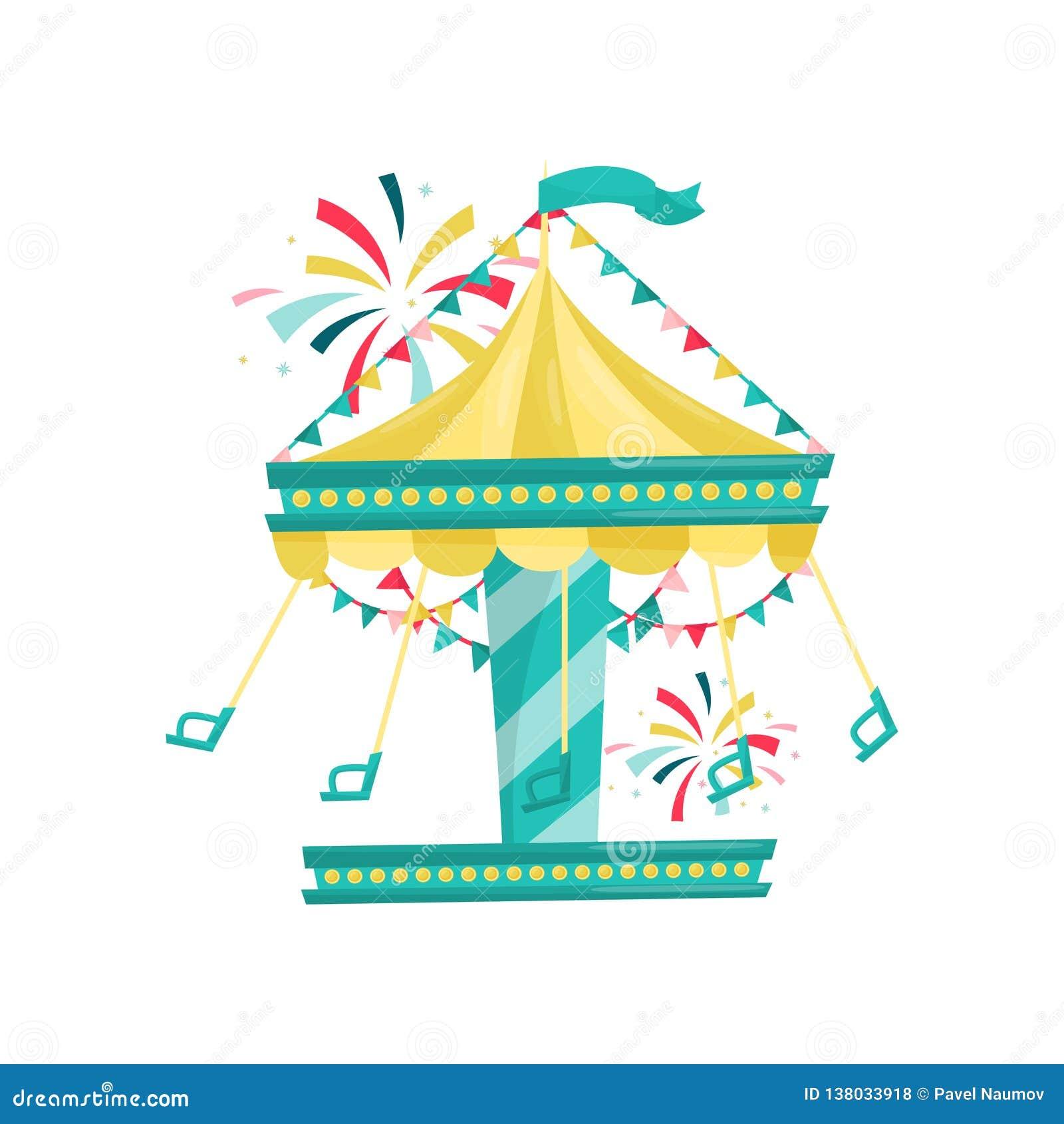 Carrusel de balanceo con las sillas adornadas con las banderas de golpe ligero Parque de atracciones Atracción del Funfair Icono