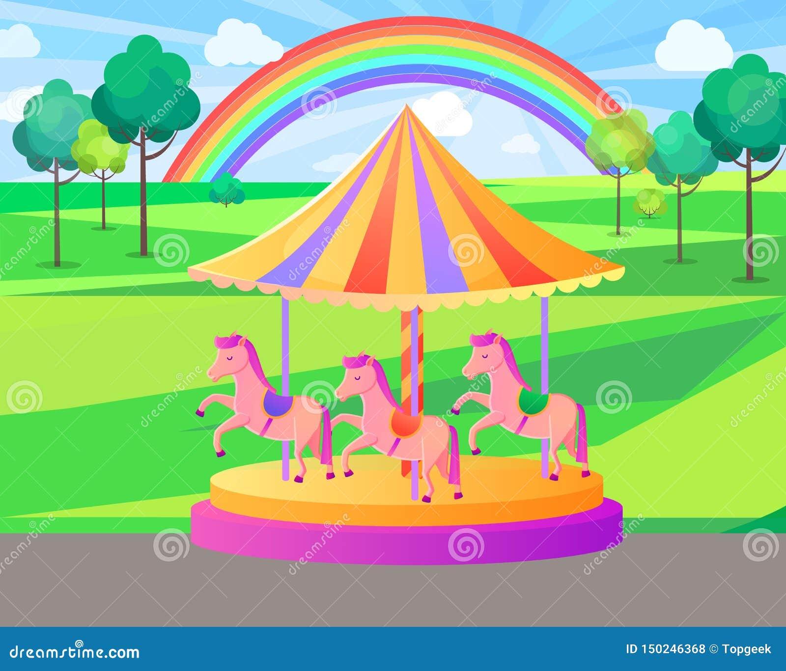 Carrusel del parque de atracciones con el arco iris, vector de la naturaleza
