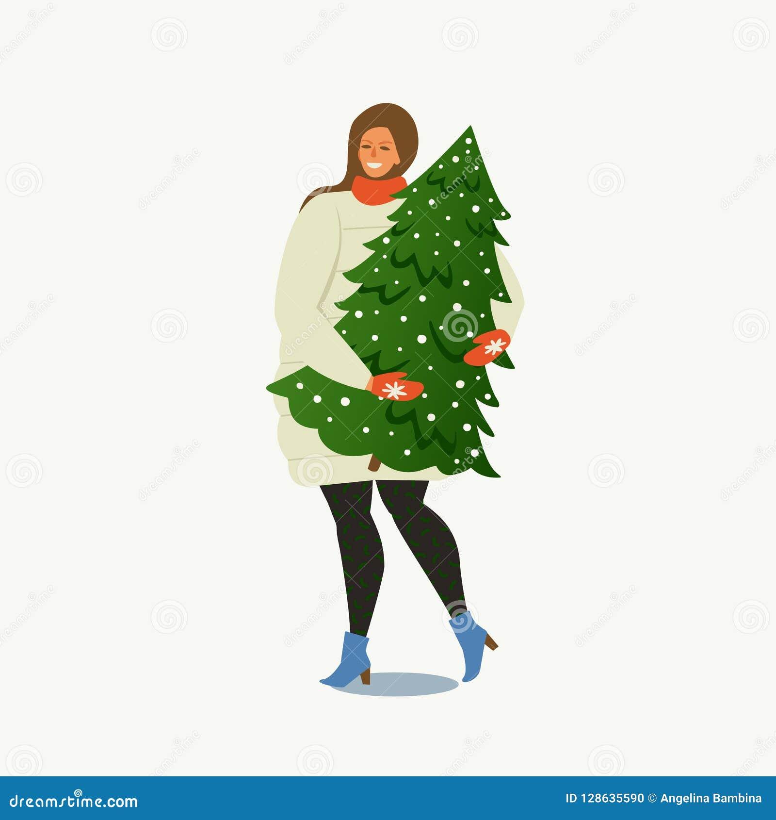 Carrying夫人圣诞树 圣诞快乐和新年好 人们为新年做准备