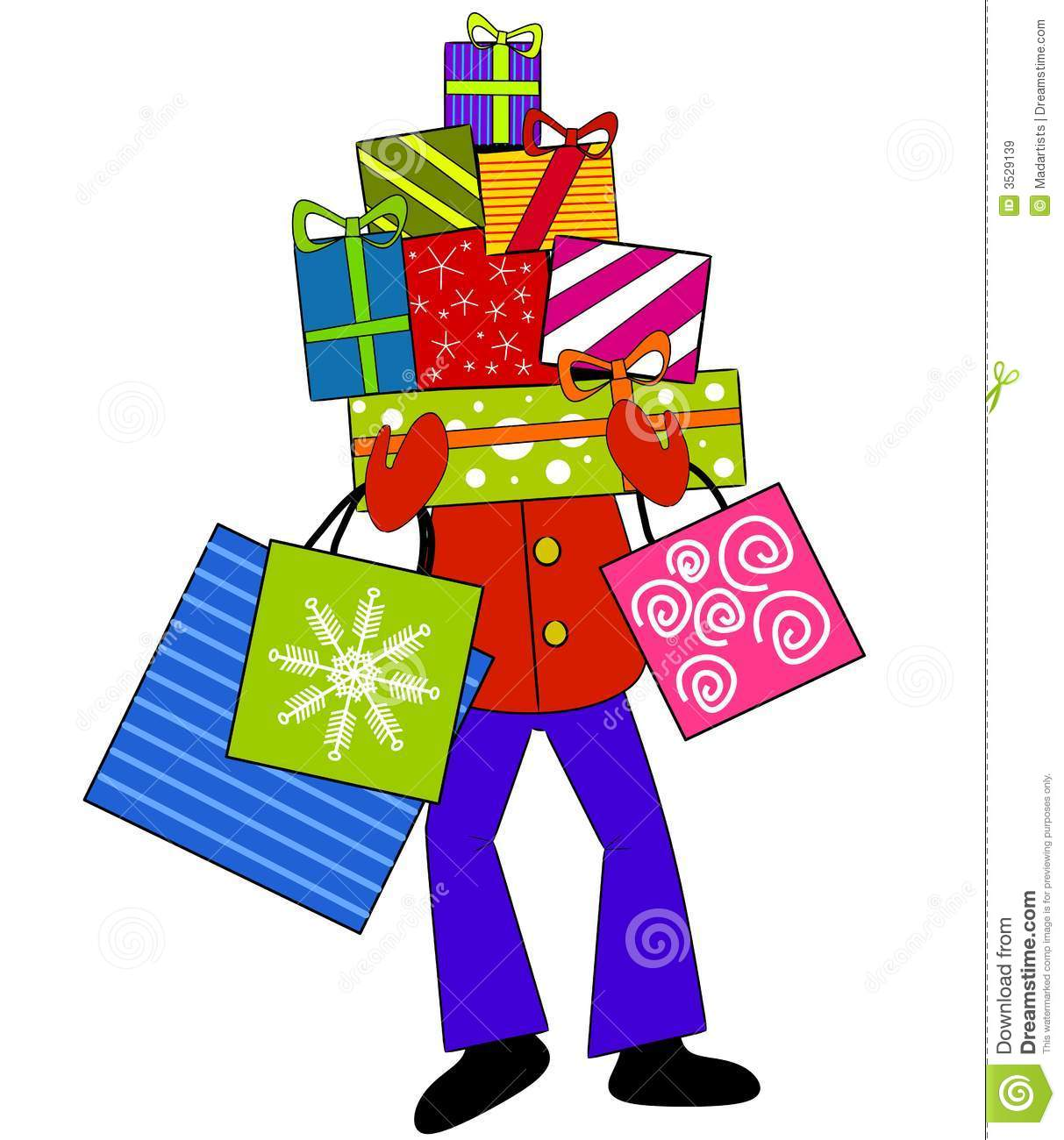 clip art illustration of a person carrying a large pile of Christmas ...