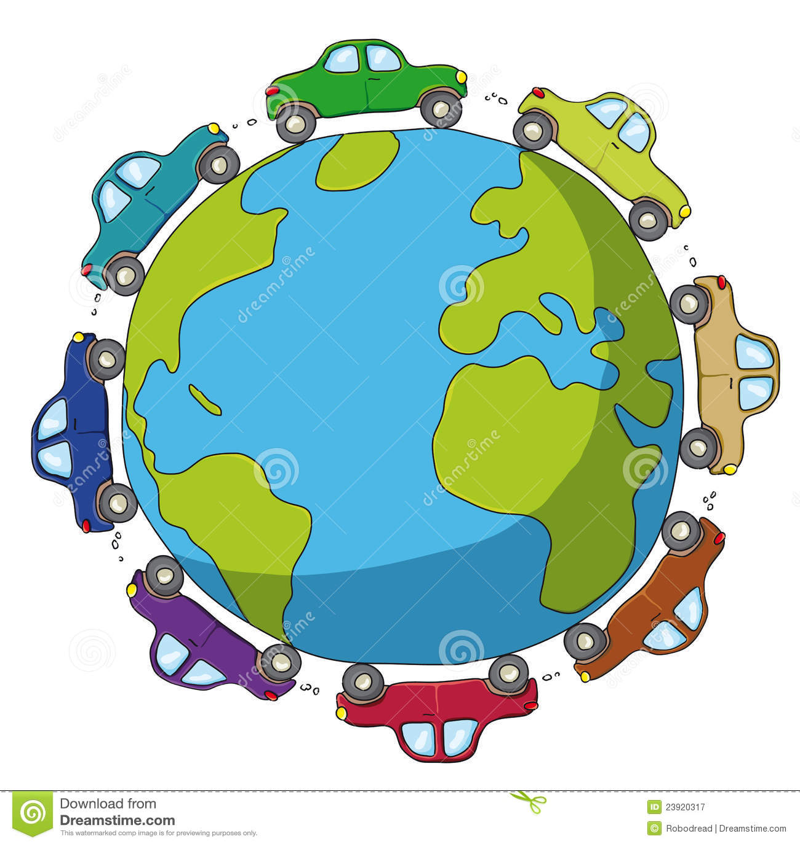 Illustration Of Cars Traveling Around The World