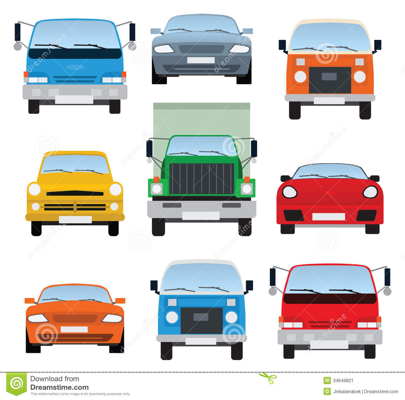 Stock Image Cars Collection Front View Vector Illustration Colorful Car Symbols Image34649821on Transparent Car Front View