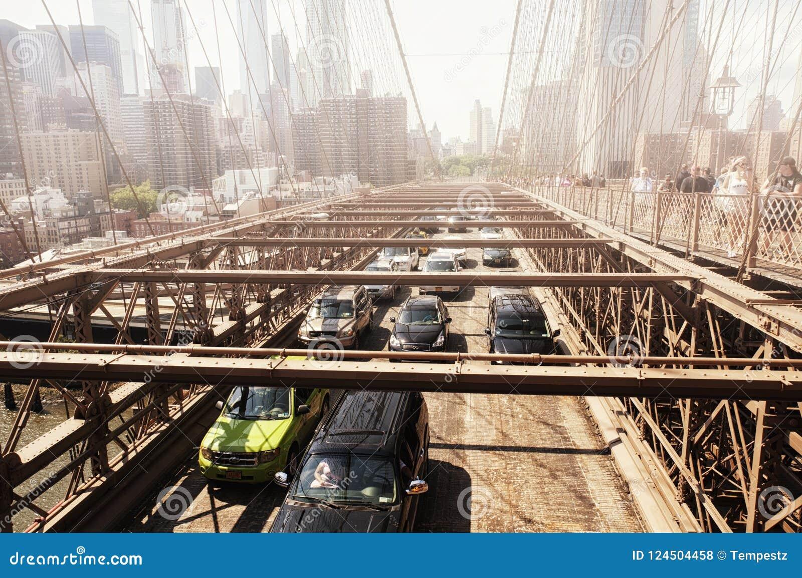 Manhattan bridge new york city skyline fog