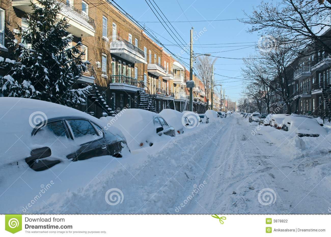 Car Covered In Snow : Cars covered by snow on the street stock photo image