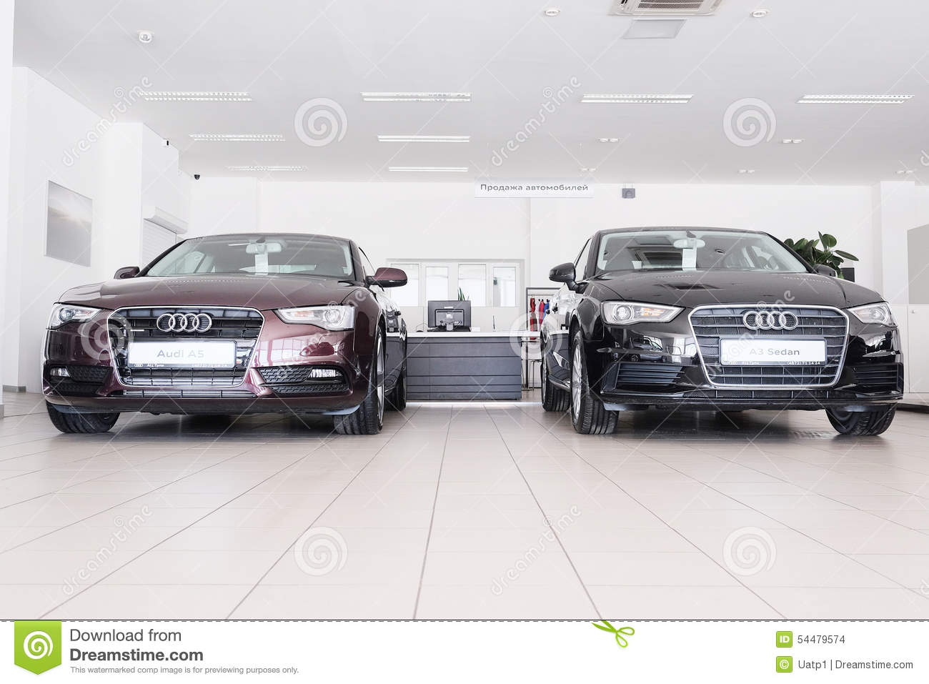 Cars in a dealer s showroom in Moscow, Russia