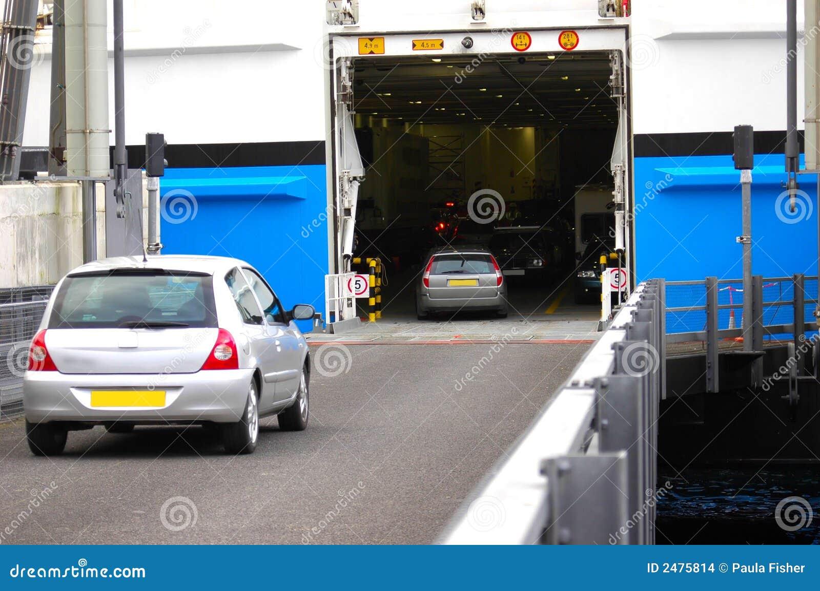 Cars entering ferry deck.