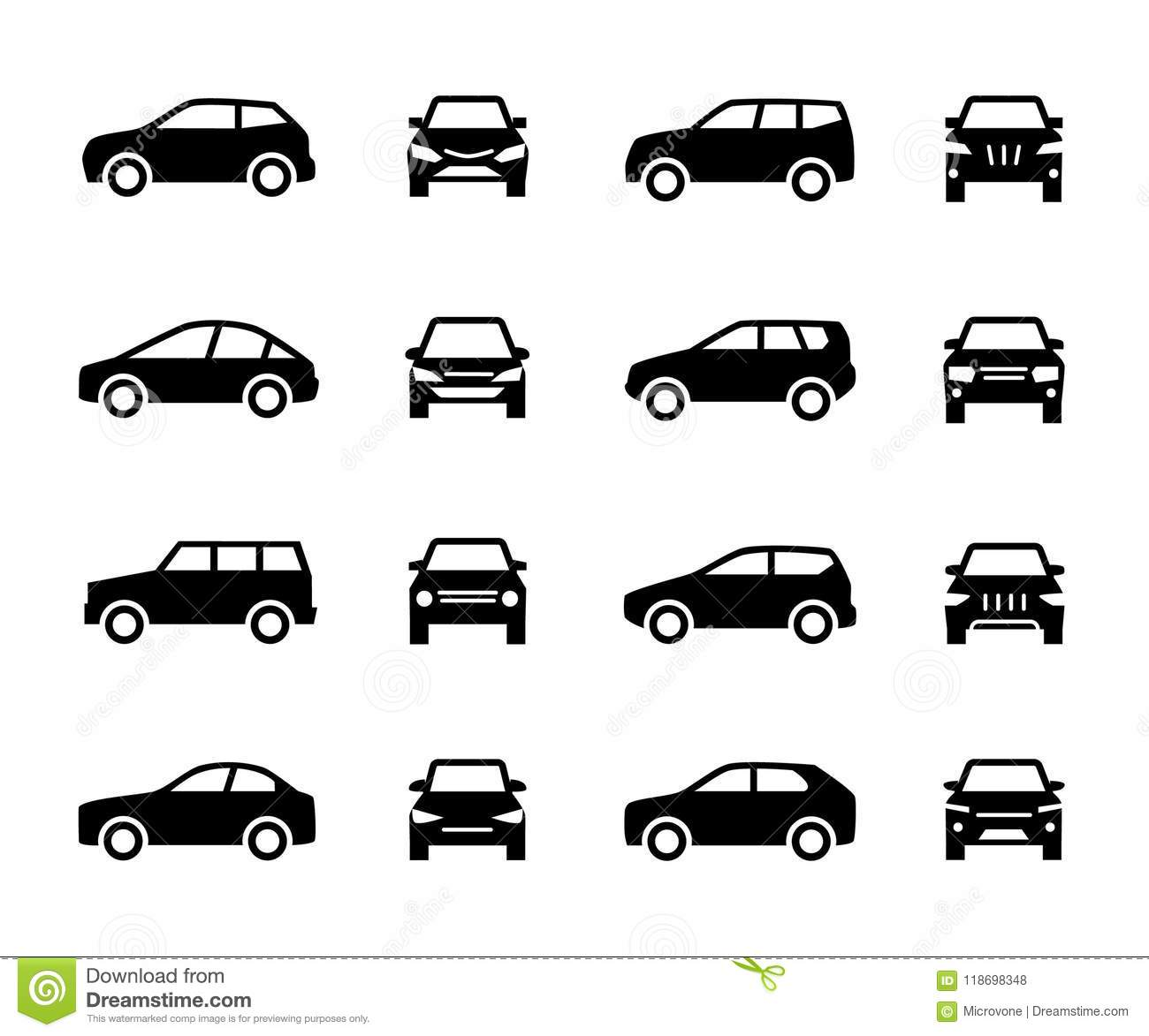 Cars Front And Side View Signs. Vehicle Black Silhouette