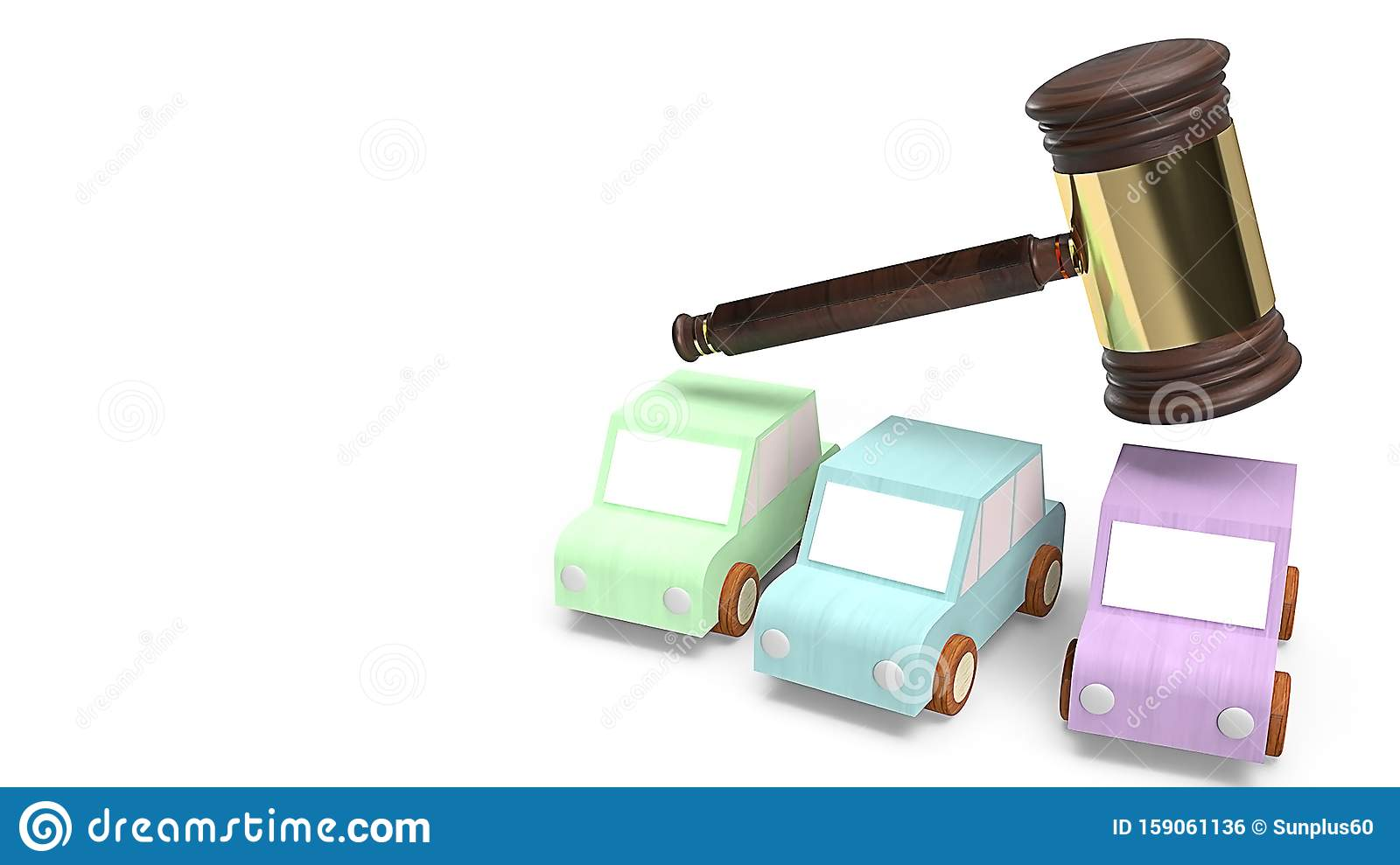 Cars and hammer justice for Car auction concept 3d rendering