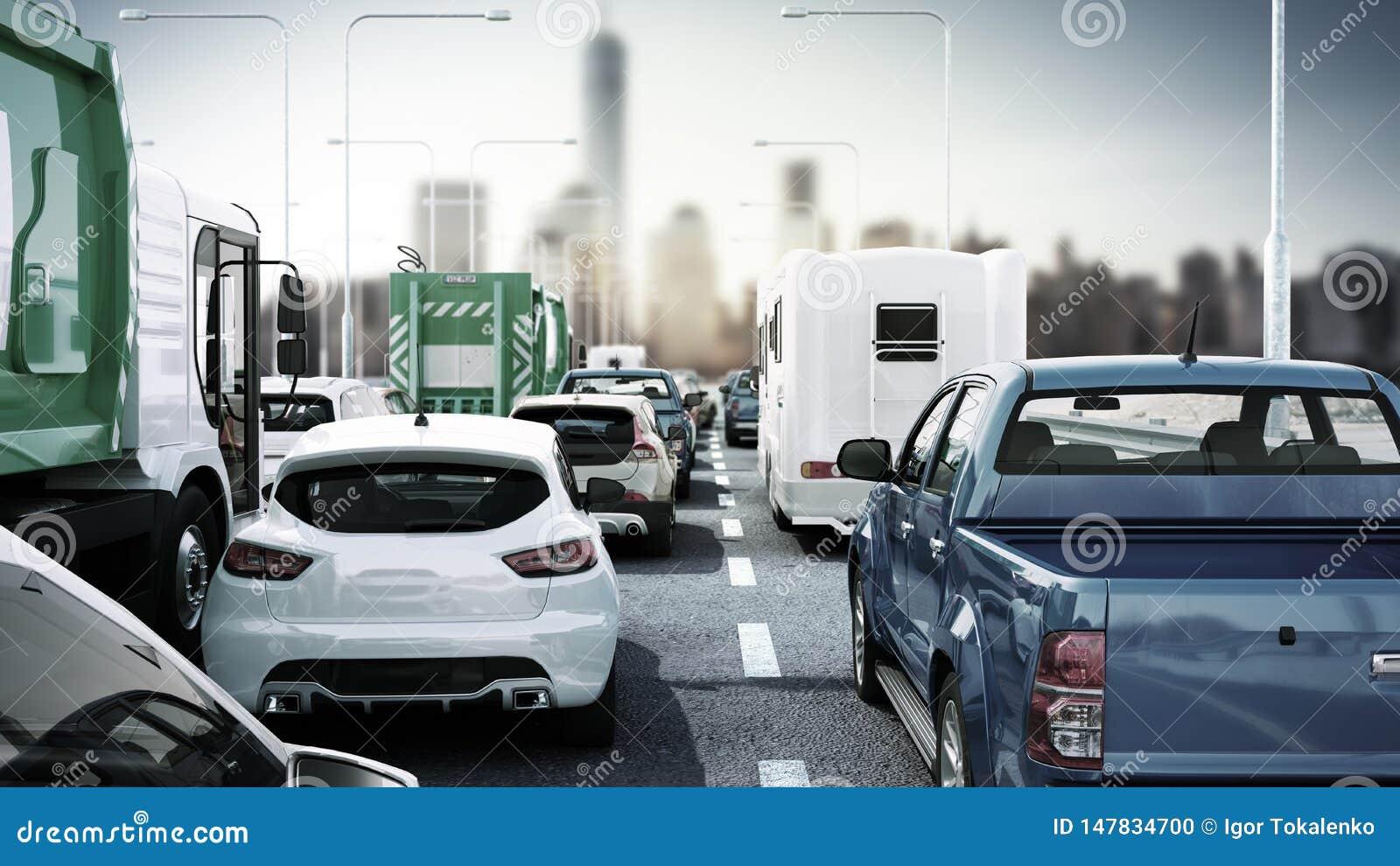 Cars on highway in traffic jam 3d render sity landscape