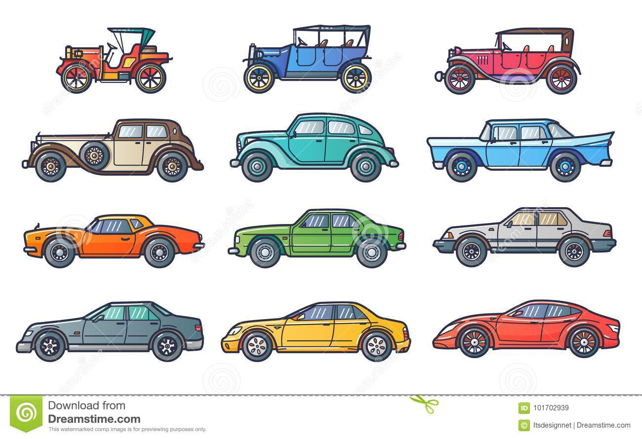 Cars history stock vector. Illustration of style, machine - 101702939