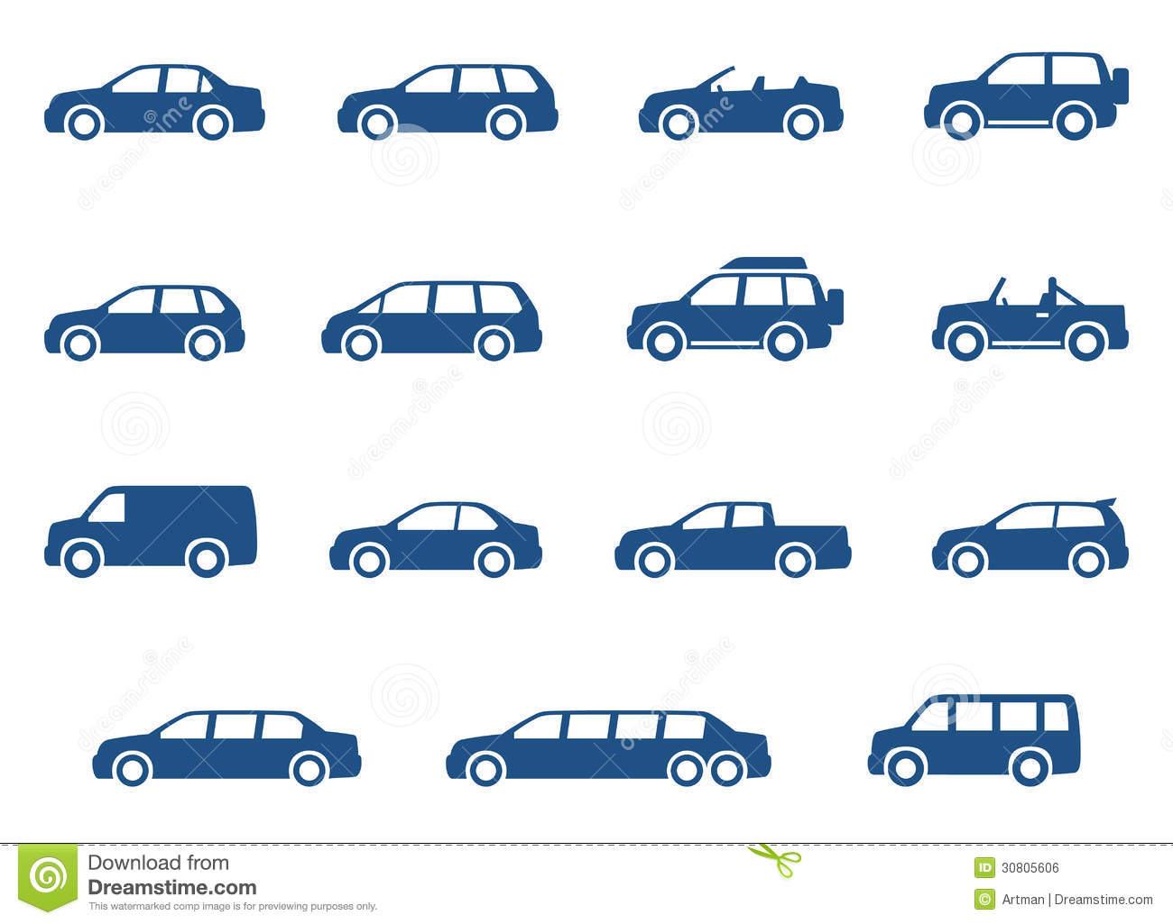 Cars Icons Set Vector Silhouettes Stock Vector Illustration Of