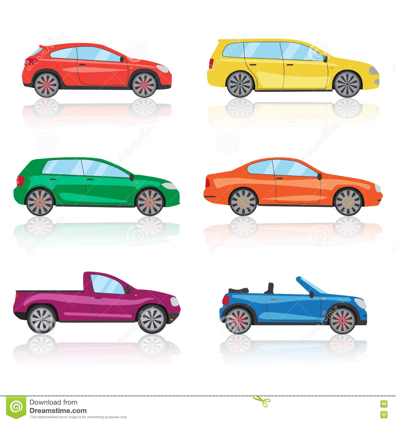 Cars Icons Set. 6 Different Colorful 3d Sports Car Icon. Car ...