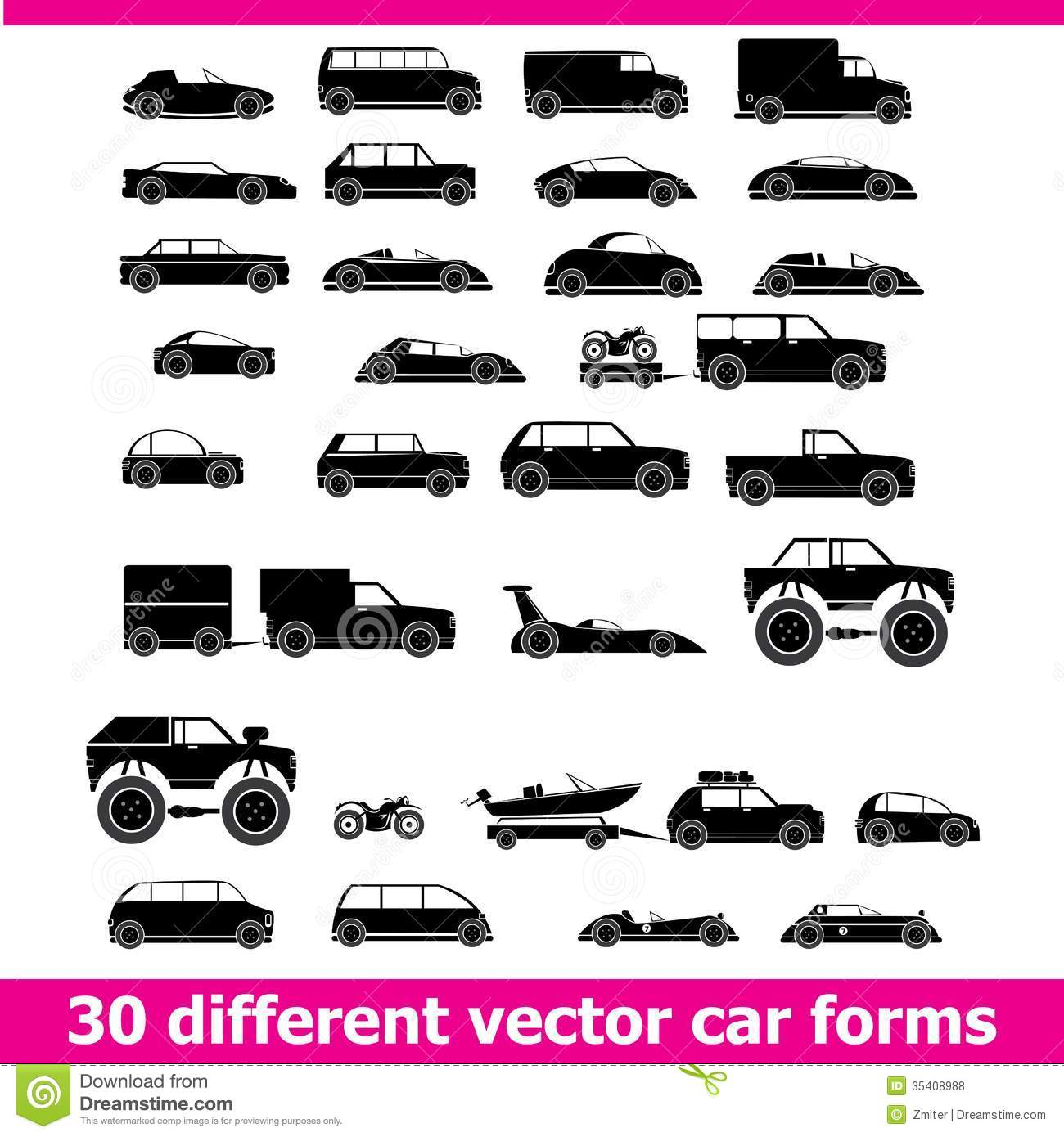 Cars Icons Set 30 Different Vector Car Forms Stock Vector