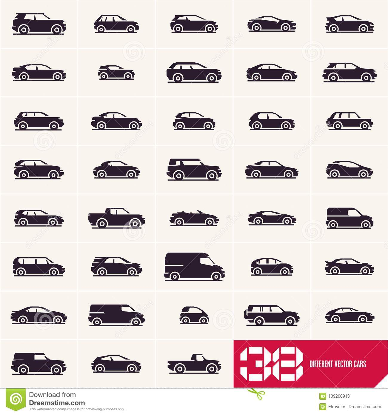 Cars Icons Set, Different Vector Car Types Stock Vector