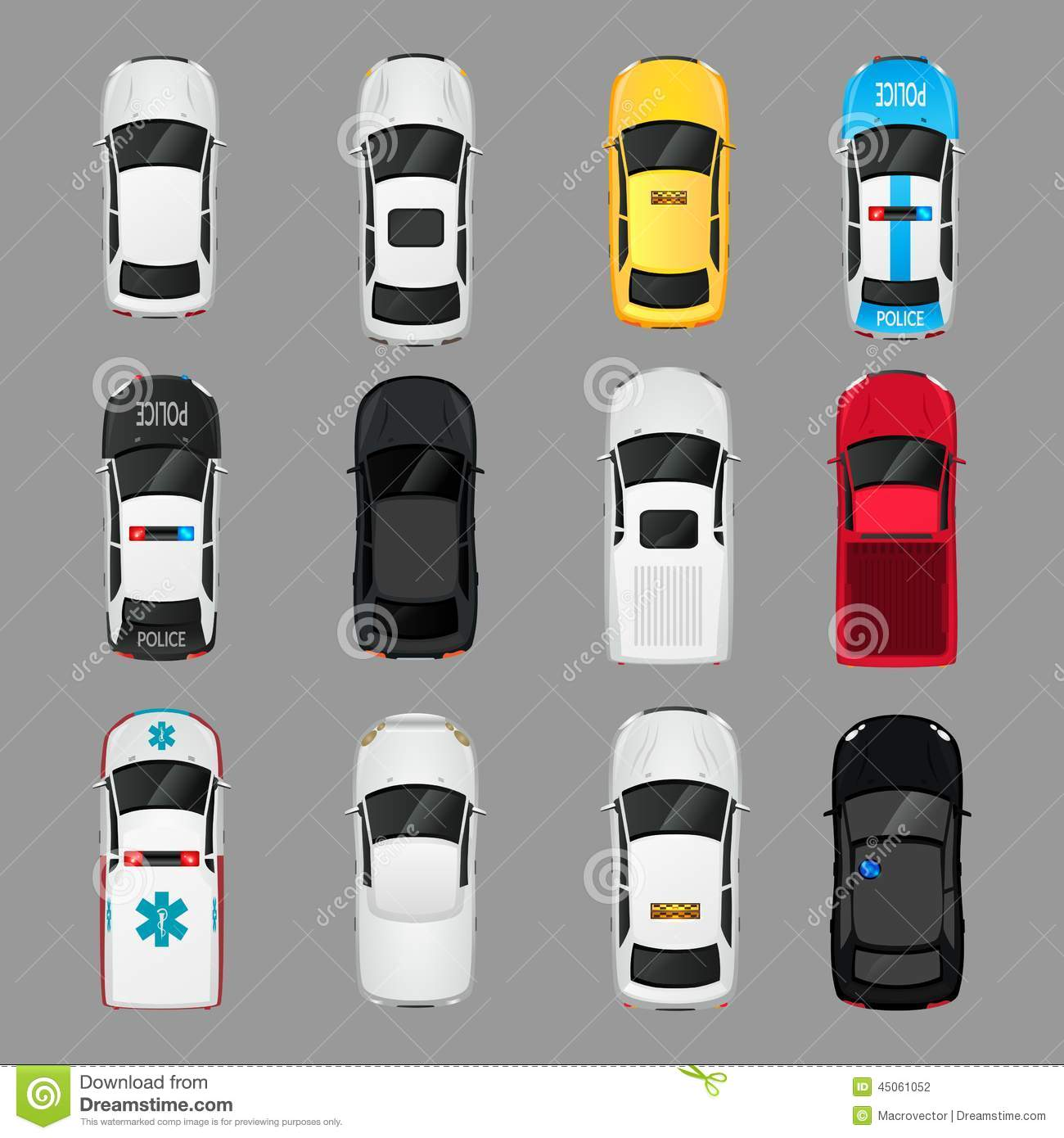 Cars Icons Top View Stock Vector. Illustration Of Business